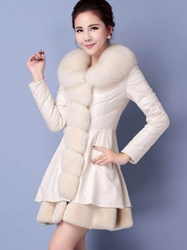 Ericdress Mid-Length Fur Collar Thick PU Jacket