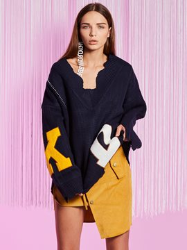 Ericdress Loose V-Neck Letter Flocking Knitwear