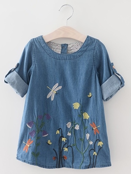 ericdress floral broderie à manches longues denim girls dress