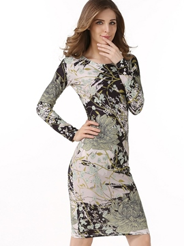 Ericdress Scoop Floral Print Long Sleeve Bodycon Dress