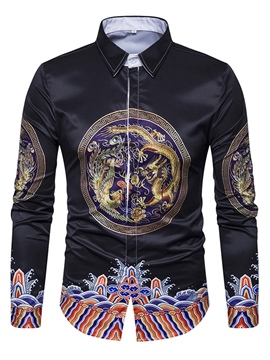 Ericdress Ethnic Style Cotton Print Single-Breasted Slim Men's Shirt