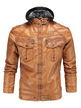 Ericdress Plain PU Leather Zip Casual Slim Men's Jacket