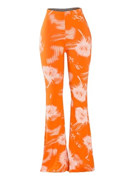 Floral High-Wasit Slim Bell Bottom Women's Casual Pants