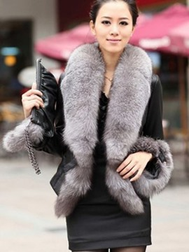 Ericdress Short Fur Collar Thick PU Jacket