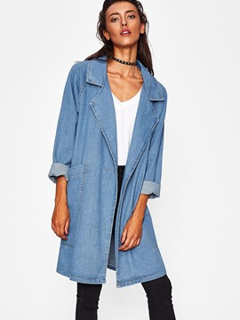 Ericdress Lapel Mid-Length Plain Denim Trench Coat