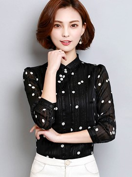 Ericdress Stand Collar Polka Dot Single-Breasted Blouse