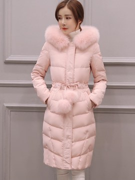 Ericdress Lace-Up Long Fur Thick Coat