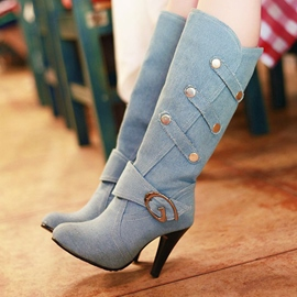 Ericdress Unique Buckle Denim Plain Knee High Boots