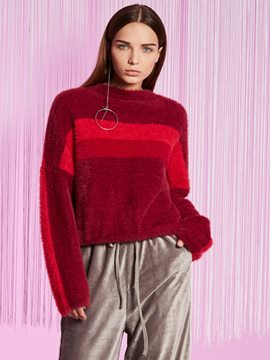 Ericdress Stripe Color Block Loose Knitwear