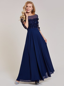 Ericdress Bateau Neck Appliques Split-Front A Line Evening Dress