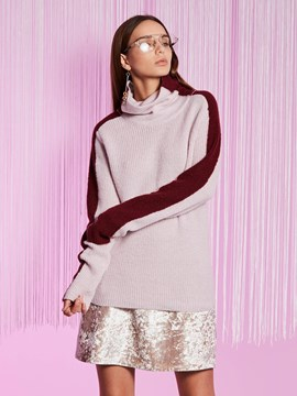 Ericdress Turtleneck Color Block Pullover Knitwear