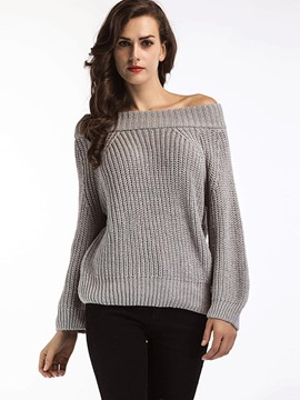 Ericdress Slash Neck Plain Thick Knitwear