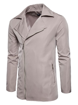 Ericdress Plain Zipper Lapel Casual Slim Men's Trench Coat