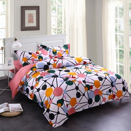 Adorila 60S Brocade Watermelon Red Spotted Flashbulb Printed 4-Piece Cotton Bedding Sets