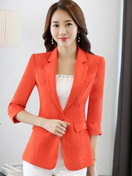 Ericdress Solid Color Slim One Button Blazer