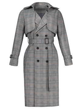 Ericdress Double-Breasted Lace-up Plaid Women's Trench Coat