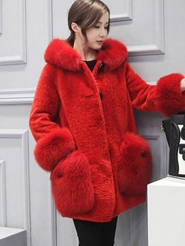 Ericdress Solid Color Loose Mid-Length Fur Coat