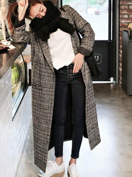 Ericdress Plaid Loose Long One Button Coat