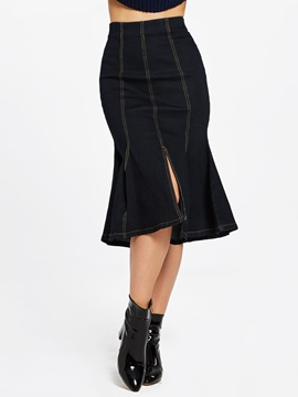 Ericdress Denim High-Waist Stripe Mid-Calf Women's Skirt
