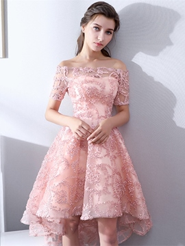 Ericdress A Line Off The Shoulder Short Sleeve Lace Tail Dress