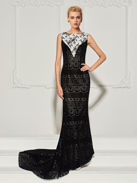 ericdress bateau neck lace meerjungfrau abendkleid mit sweep train