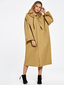 Ericdress Loose Hooded Plain Women's Trench Coat
