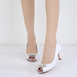 Ericdress Rhinestone Peep Toe Plain Stiletto Heel Wedding Shoes