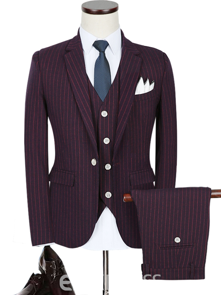 Ericdress One Button Single-breasted Notched Lapel Three-piece Slim Fit Mens Suit