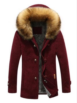 Ericdress Hooded Single-Breasted Thicken Men's Faux Fur Coat