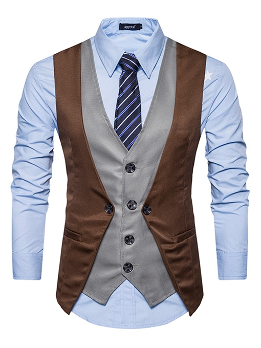 Ericdress Vogue Color Block Single-Breasted V-Neck Slim Men's Vest