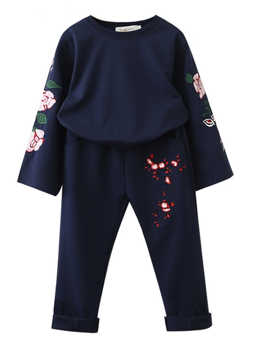 Ericdress Floral Embroidery Long Sleeve Fall Girls Outfit