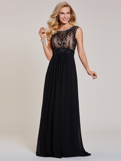 Ericdress Scoop Neck A Line Evening Dress With Beadings and Lace