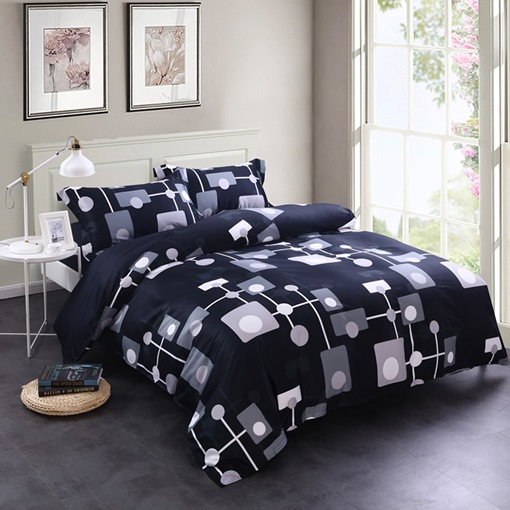 Adorila 60S Brocade Geometric Point-Line-Surface Pattern Creative Design 4-Piece Cotton Bedding Sets