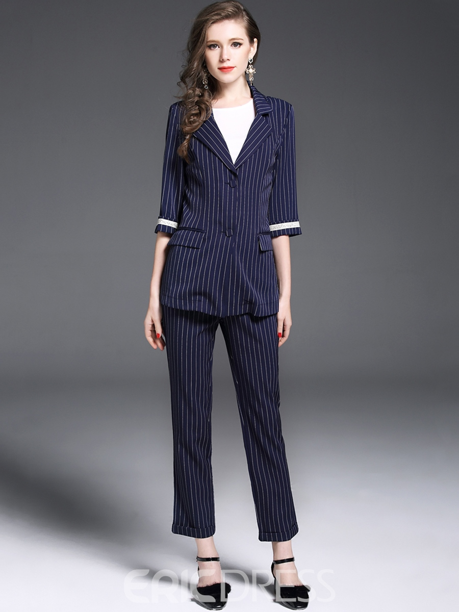 Ericdress Stripe Blazer and Ankle Length Pants Womens Fashion Suit