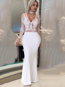 Ericdress See-Through Mermaid V-Neck Maxi Dress