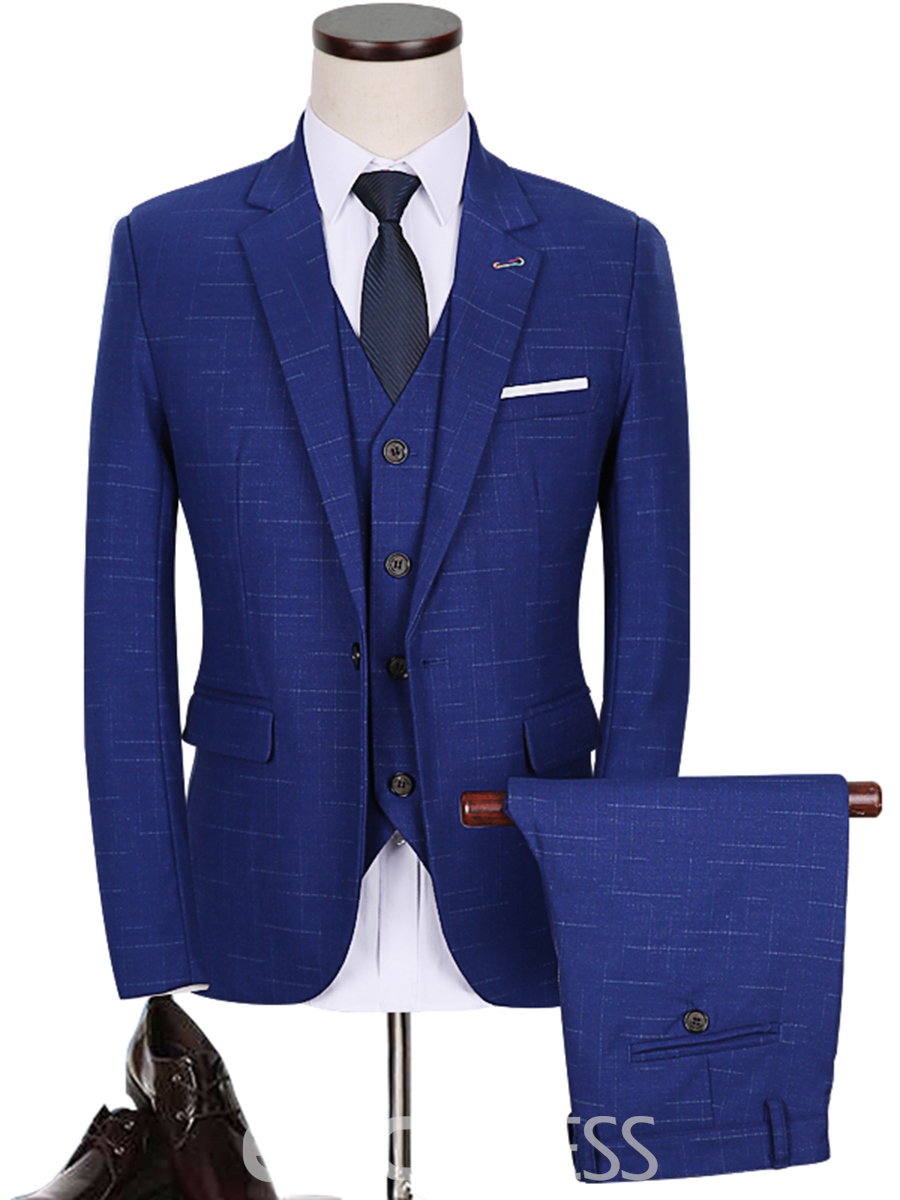 Ericdress Business Single-breasted Notched Lapel Three-piece Slim Mens Suit