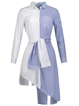 Ericdress Stripe Mid-Length Patchwork Shirt