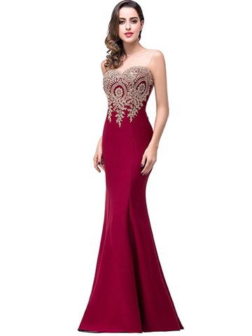 Ericdress Sleeveless Mesh Appliques Mermaid Maxi Dress