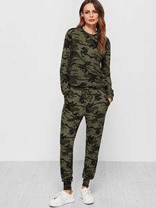 Ericdress Camouflage Round Neck T-Shirt and Pants Women's 2-Piece Set