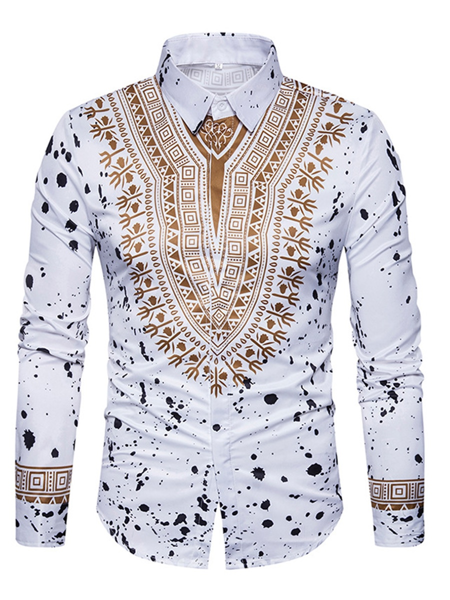 Ericdress Dashiki African Print Single-Breasted Lapel Unique Slim Men's Shirt