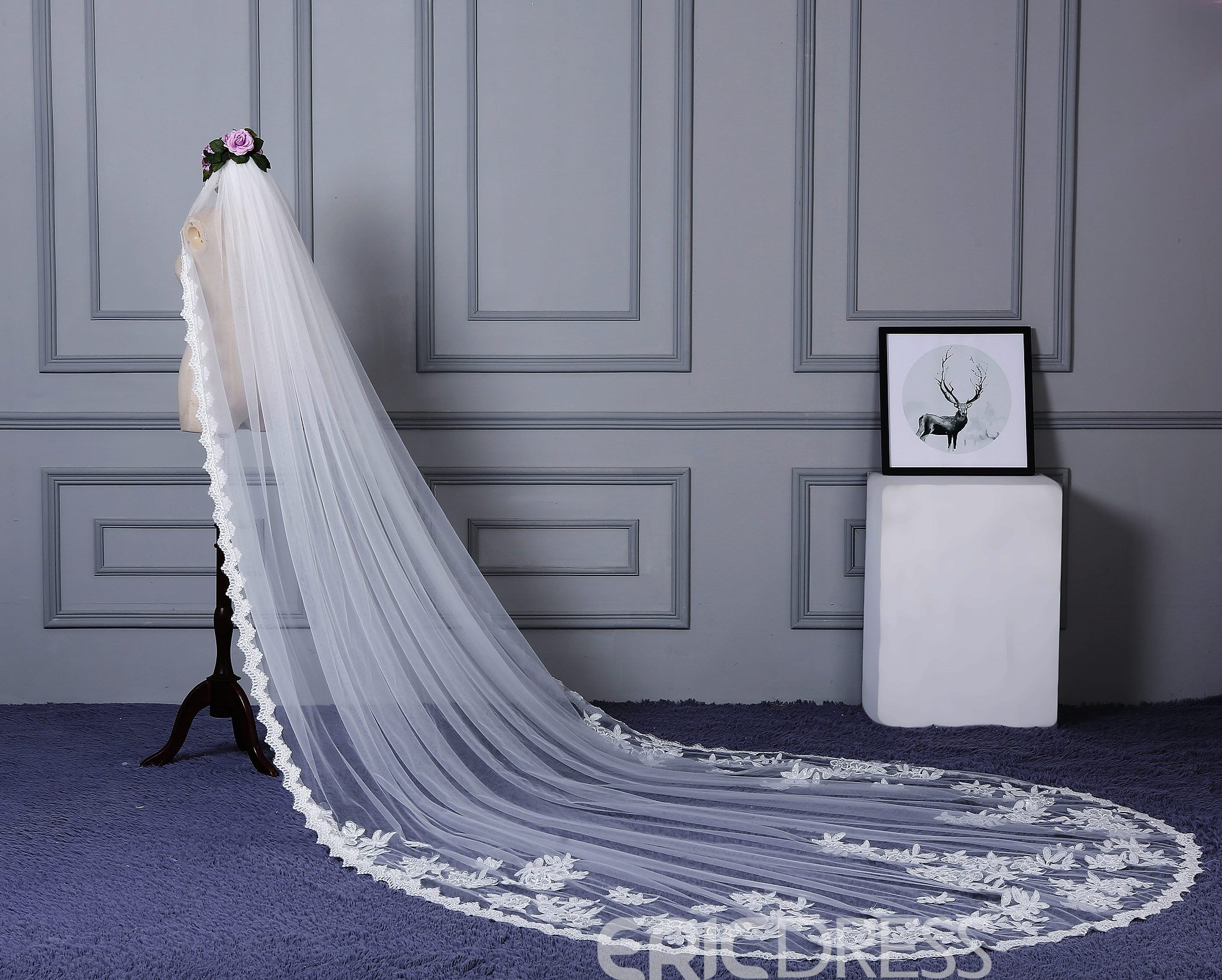 Ericdress Lace Edge Tulle Long Wedding Veil