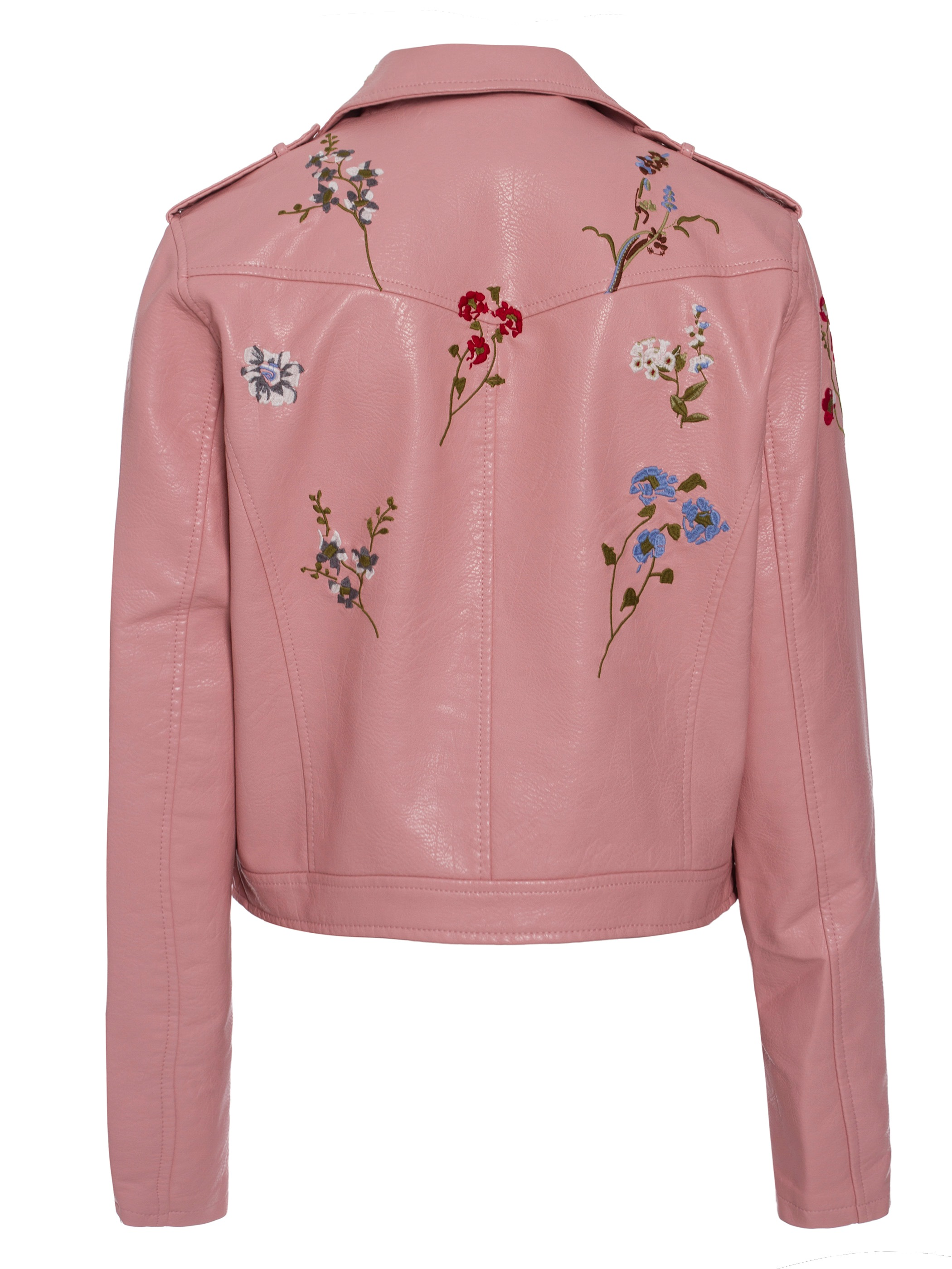 Ericdress Lapel Floral Embroideried PU Jacket