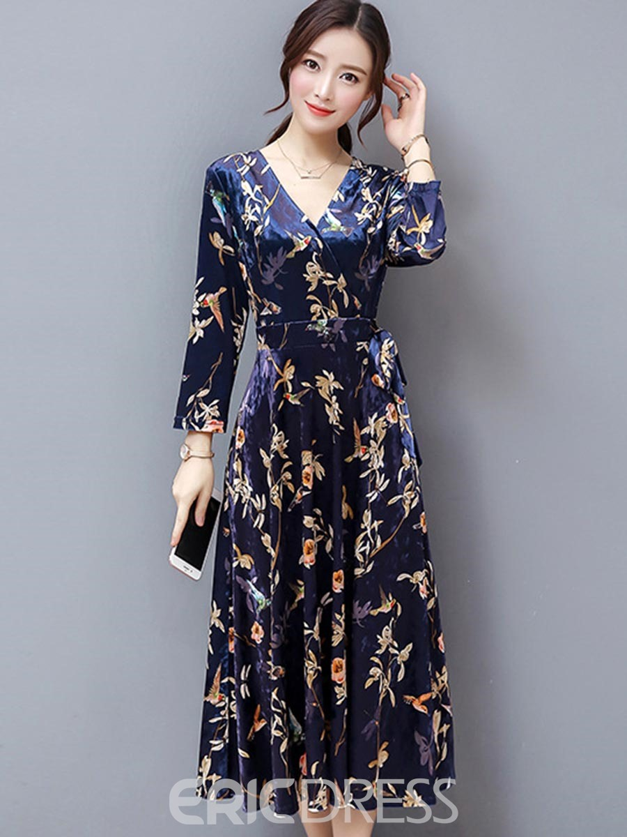 Ericdress Velvet Lace-Up Print Expansion Maxi Dress