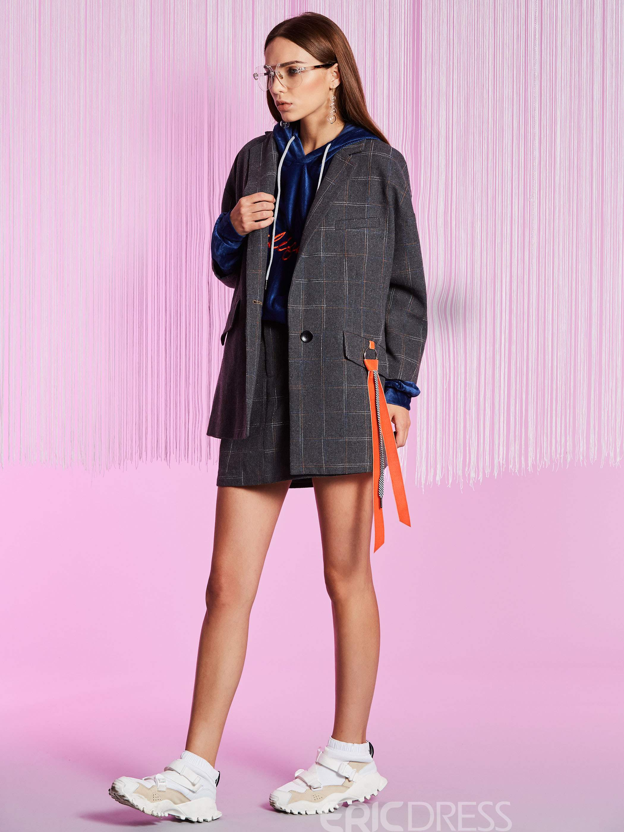 Ericdress Plaid Mid-Length One Button Blazer
