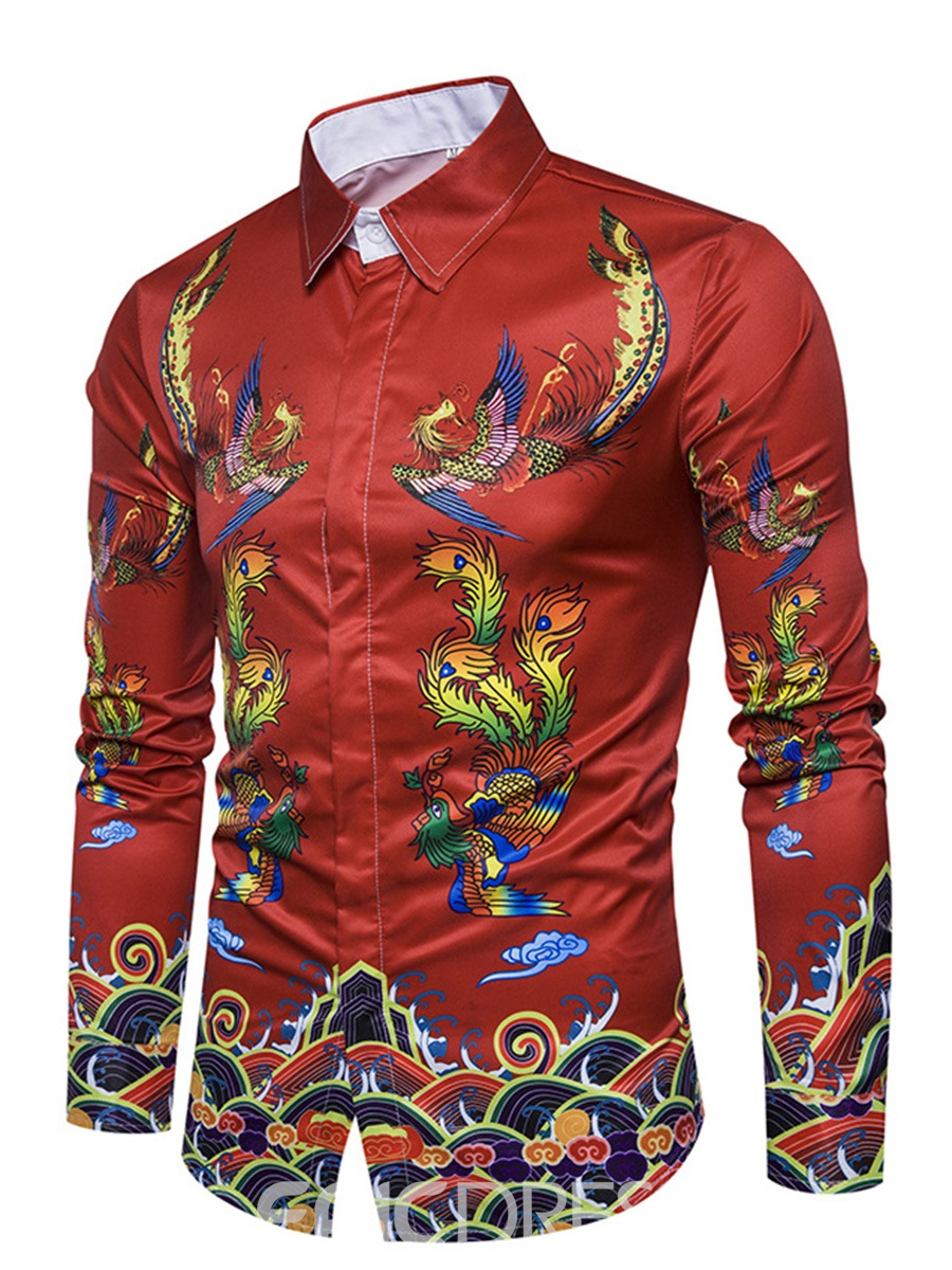 Ericdress Ethnic Style Cotton Floral Print Unique Men's Shirt