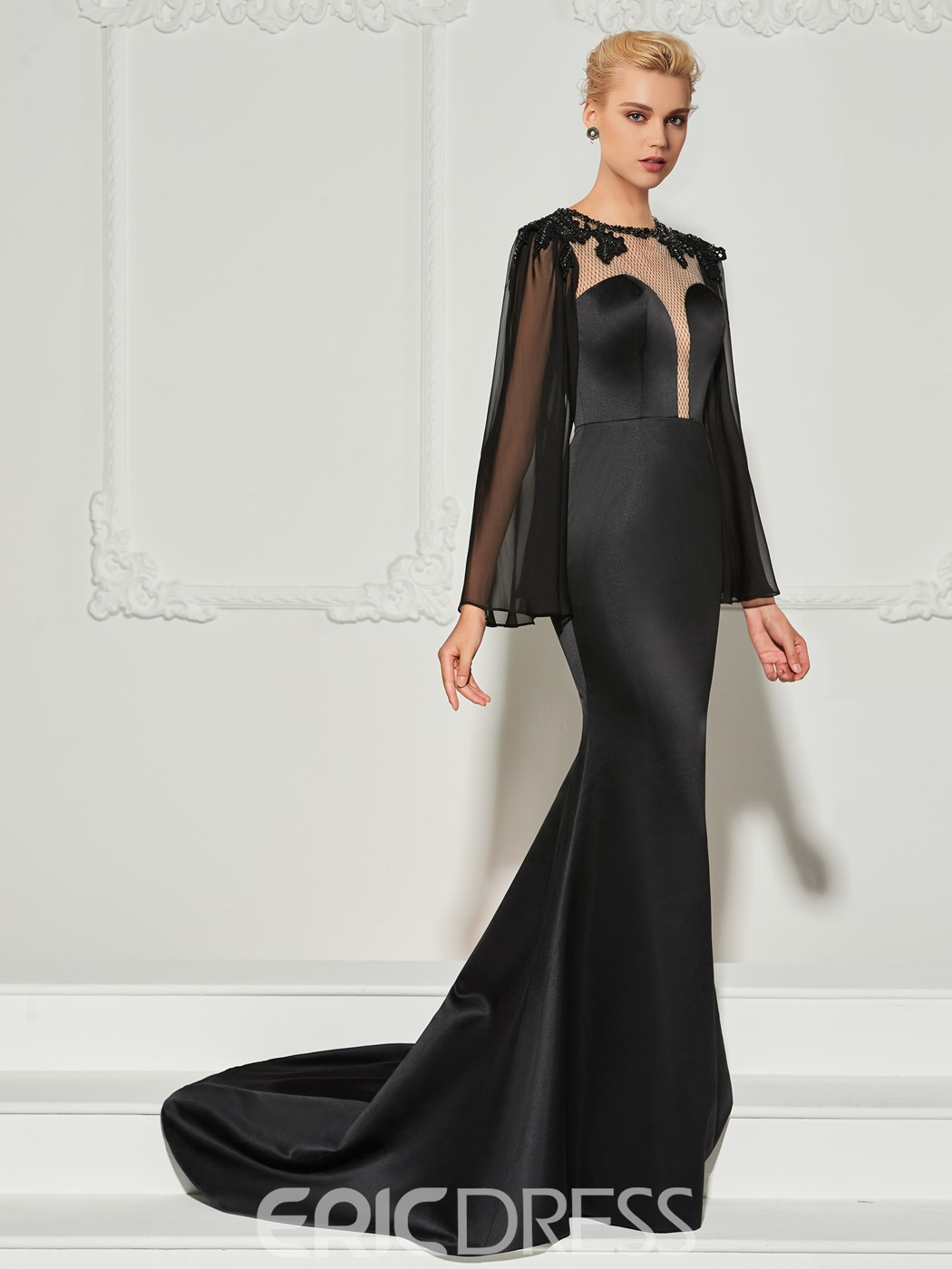Ericdress Long Sleeve Beaded Scoop Neck Mermaid Evening Dress With Train