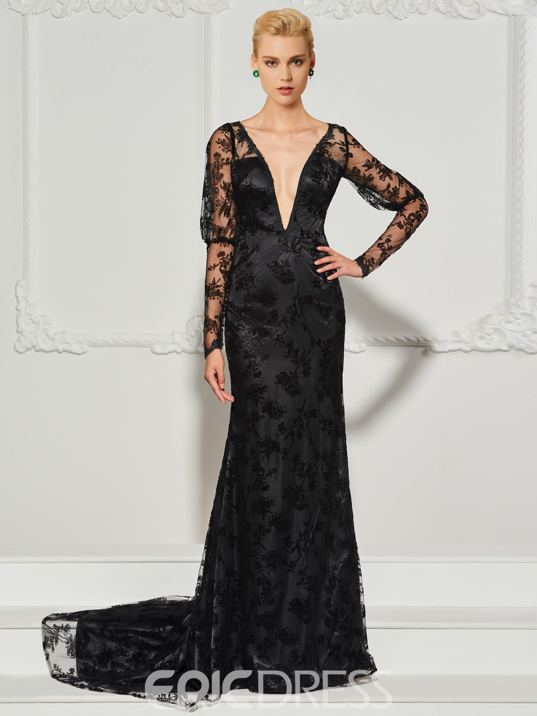Ericdress V Neck Long Sleeve Lace Mermaid Evening Dress With Train