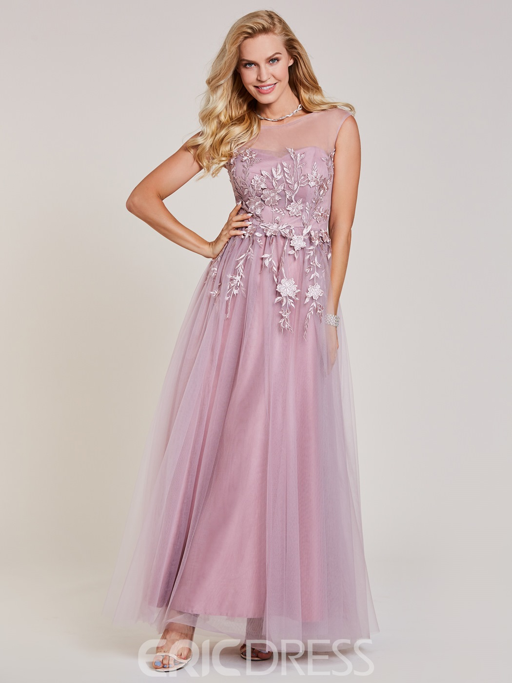 Ericdress Scoop Neck Appliques A Line Prom Dress