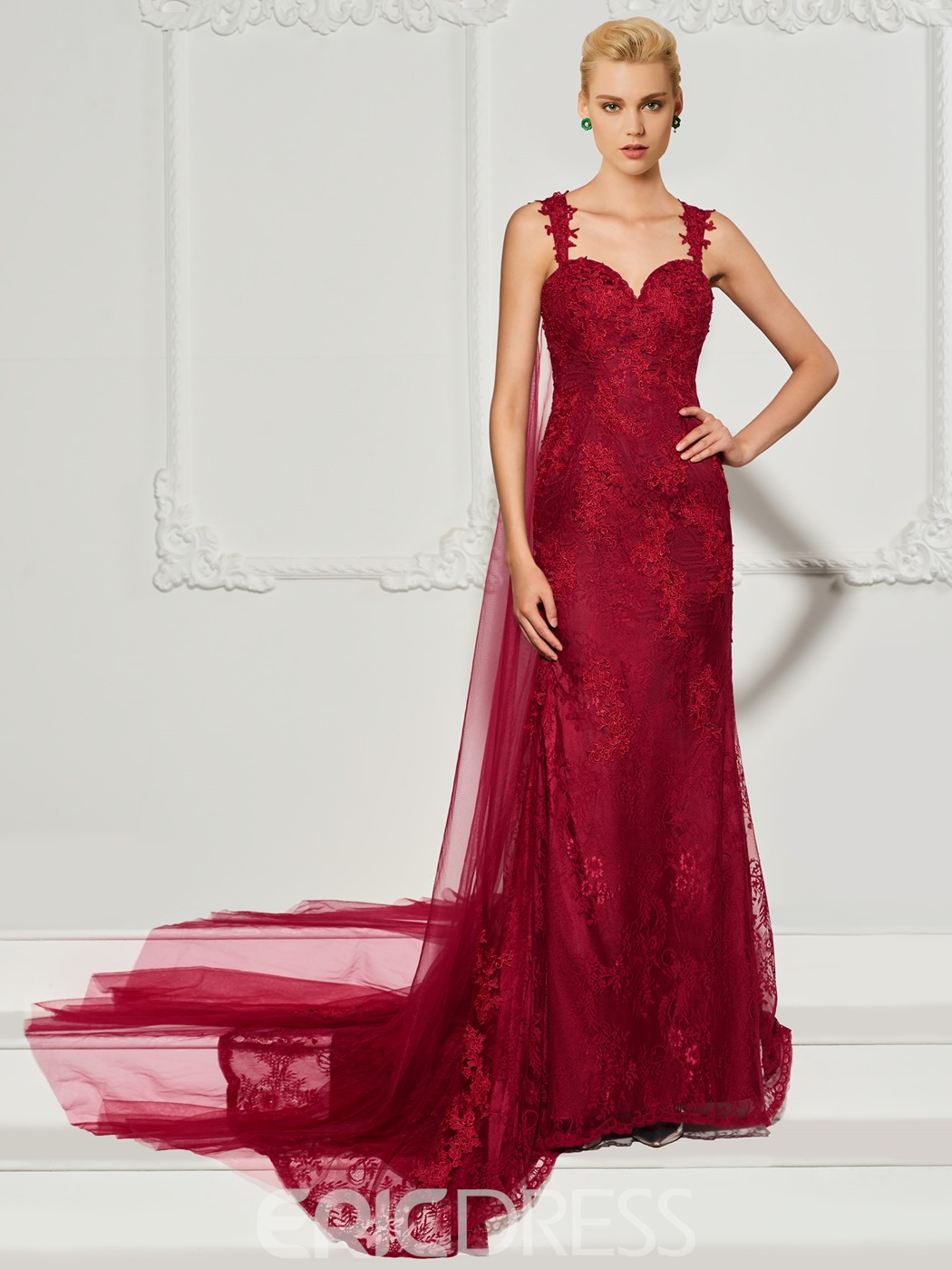Ericdress Straps Lace Applique Mermaid Evening Dress With Sweep Train