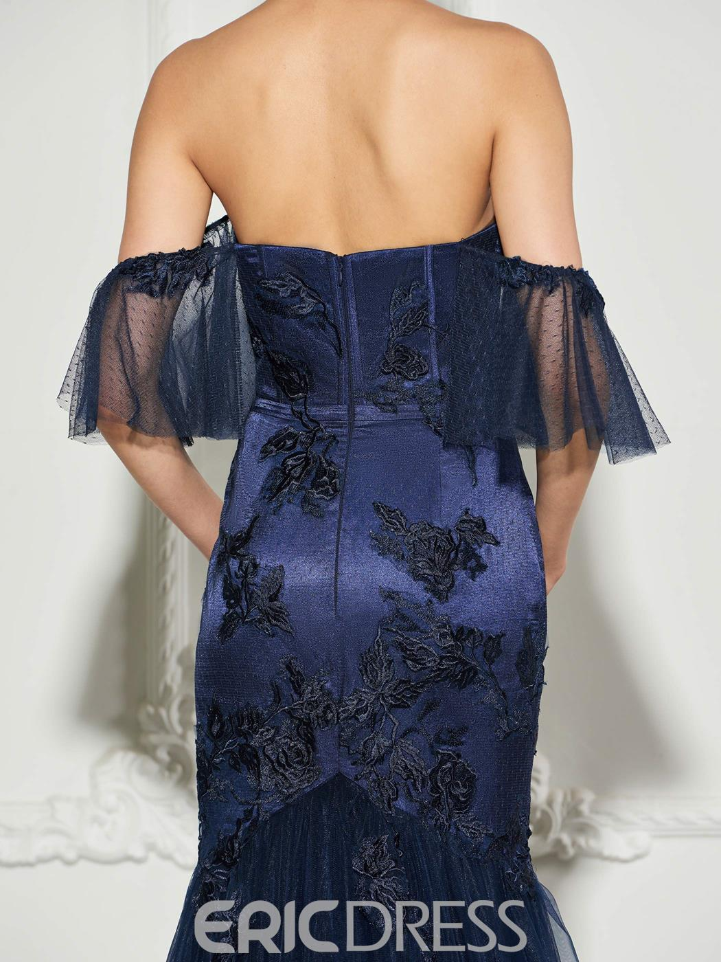 Ericdress Lace Applique Off The Shoulder Mermaid Evening Dress